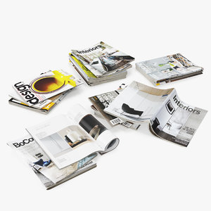3D model realistic magazine open mix