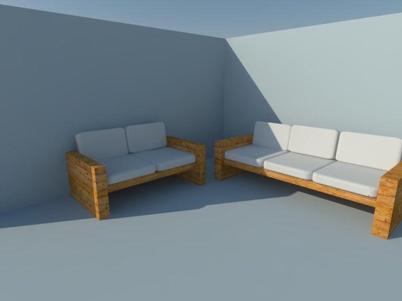 3D model wooden sofa