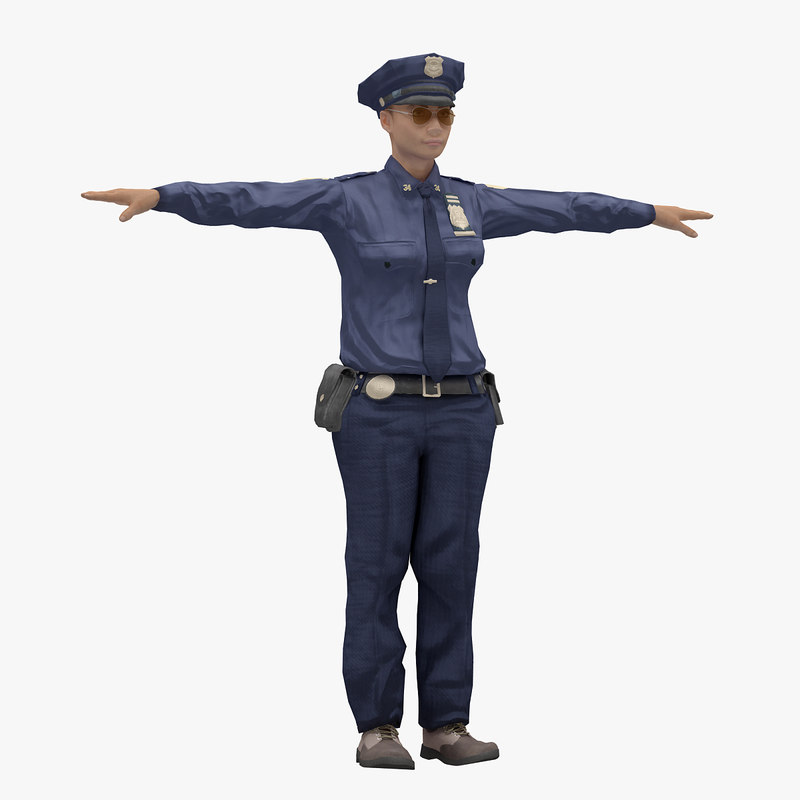 female woman police model