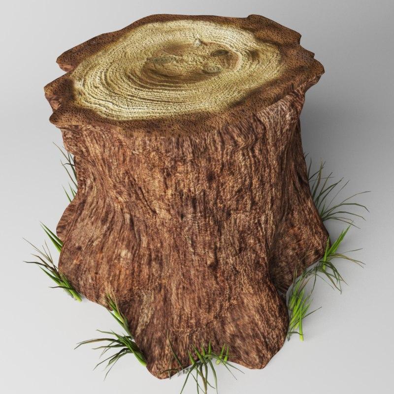 3D tree trunk stump model