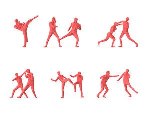 people fighting pose 3D model