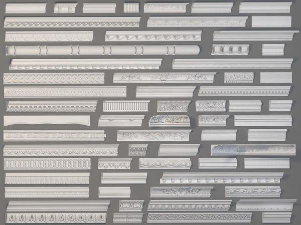 64 piece cornice 3D