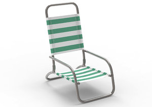 3D beach chair metal model