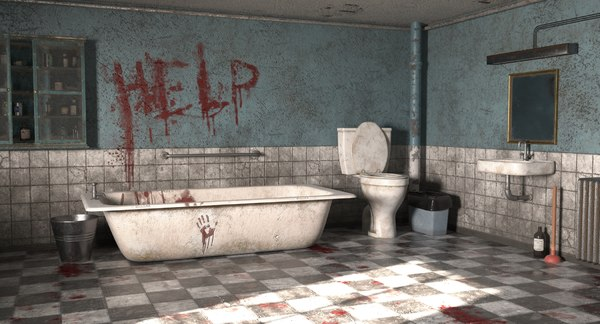 horror bathroom bath 3D model