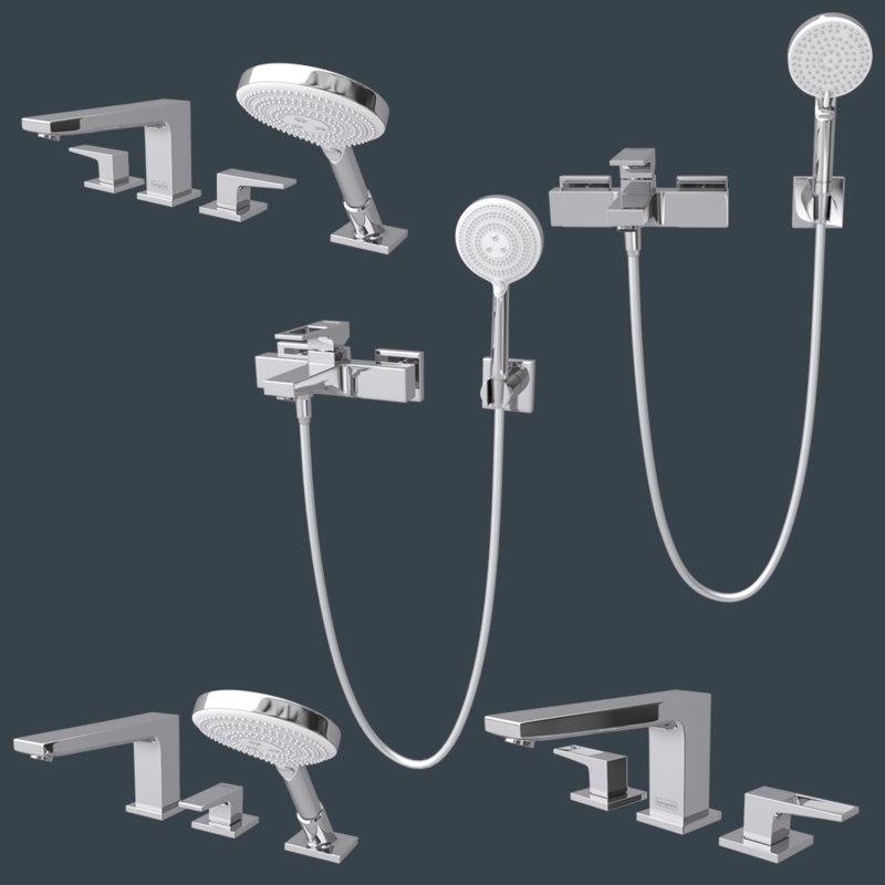 3D faucets bathroom interior 3