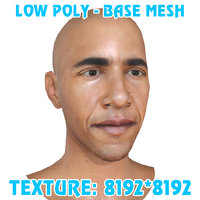 Low poly Obama Head Base Mesh