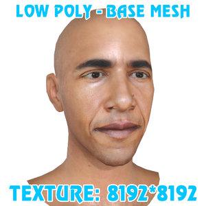 3D obama head base mesh