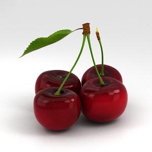 3D cherry food fruit model