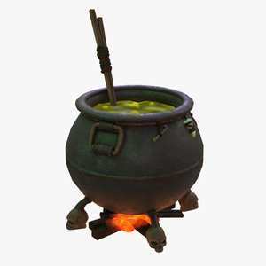 magical witch cauldron 3D model