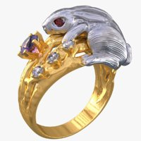 3D model rabbit ring