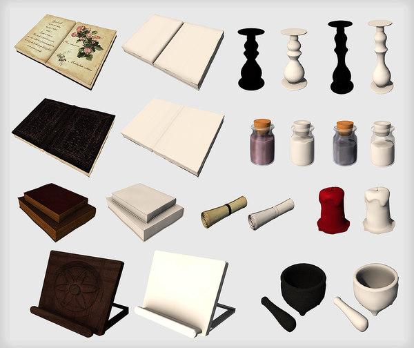 halloween set book spell 3D model