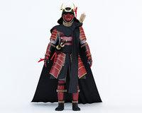 3D samurai warlord model