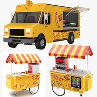 dog truck cart hot 3D model