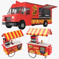 food truck cart burger 3D model
