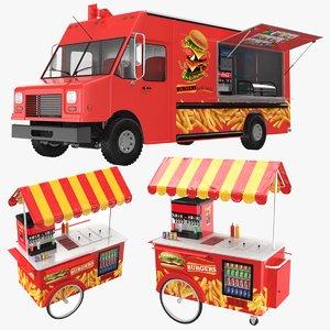 food truck cart burger 3D model