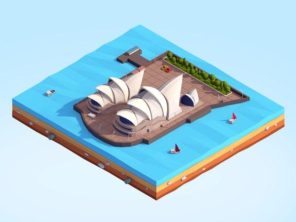 cartoon sydney opera house 3D