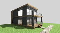 bungalow prefabric wood 3D