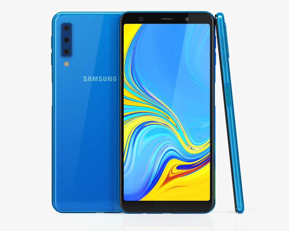 3D samsung galaxy a7 blue model