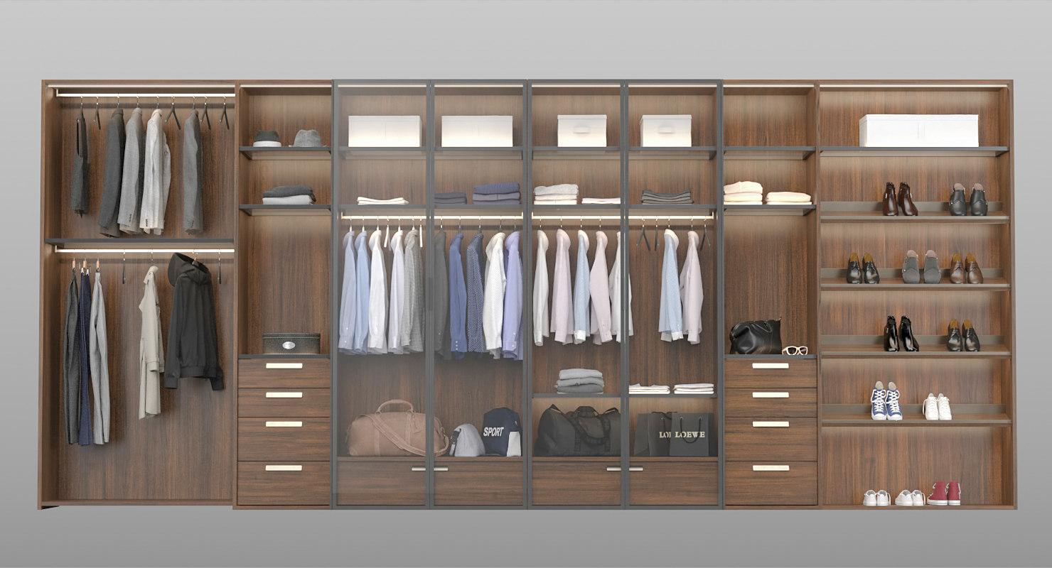 3D realistic wardrobe clothes modern