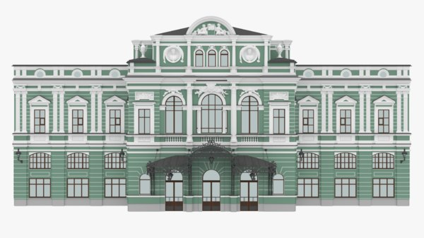 3D great drama theater facade building model
