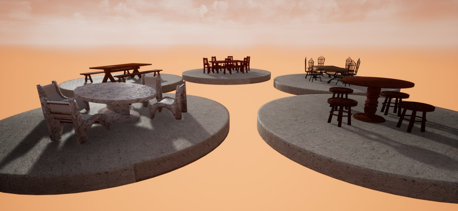 tables chairs unreal model