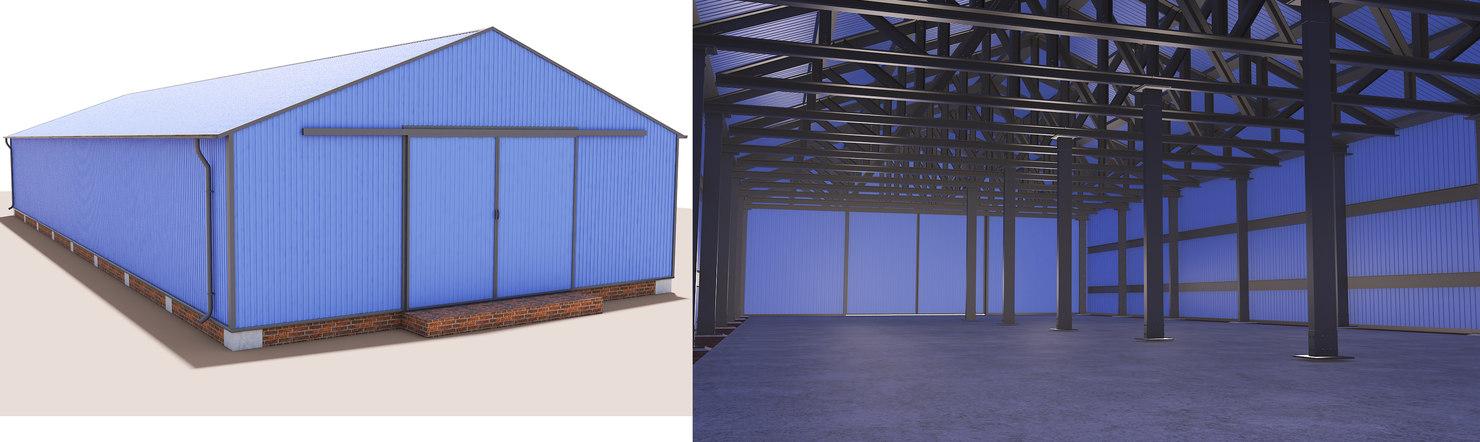 3D industrial steel building