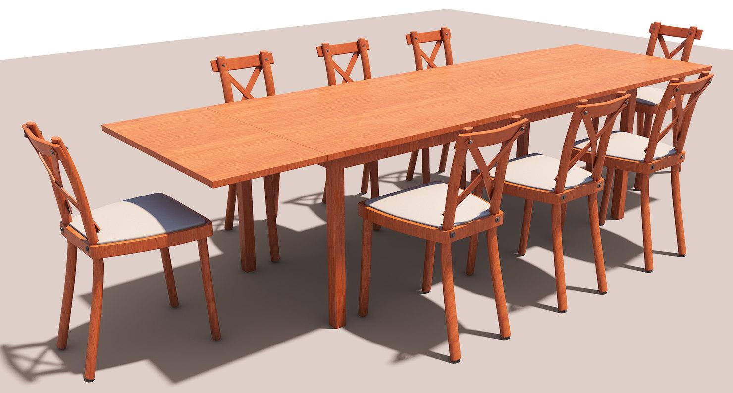 set table chair 3D model