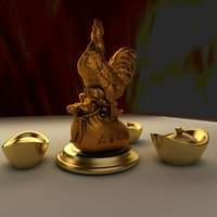 3D chinese gold ingot rooster