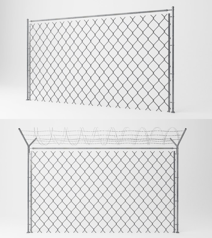 chain link wire fence 3D model