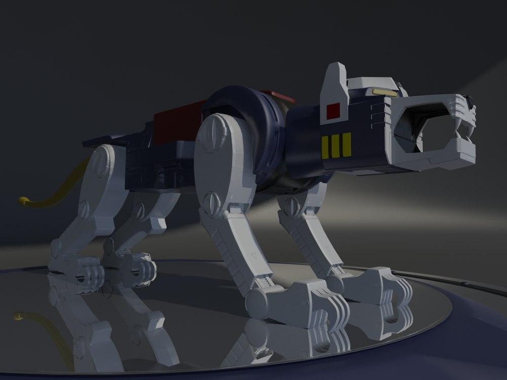 3D blue lion voltron robot model