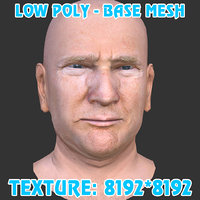 donald trump head base mesh 3D model