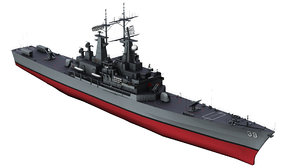 3D uss texas cgn-39 cruiser model