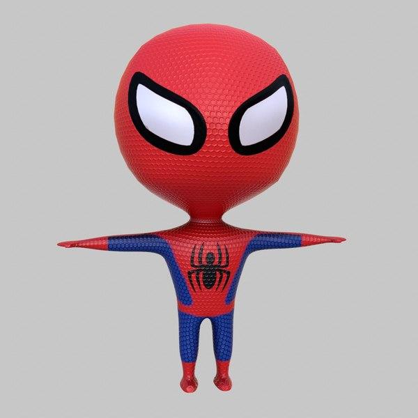 cute cartoon spiderman 3D model