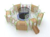 3D circular trampoline model