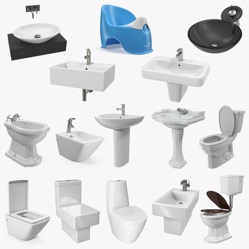 bathroom fixtures 3D model