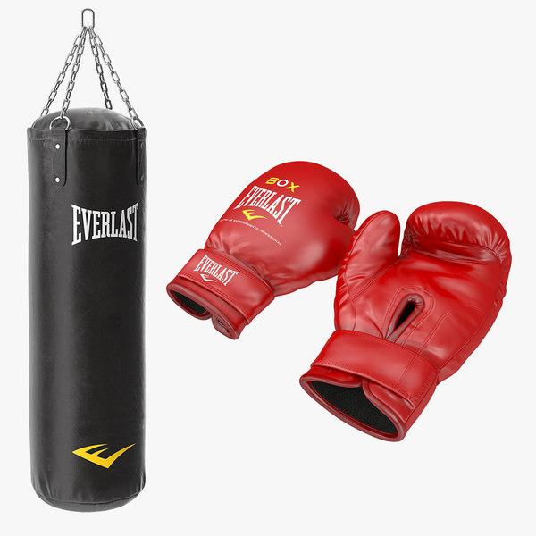3D boxing gloves punching bag model