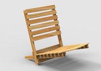 beach chair wooden 3D model