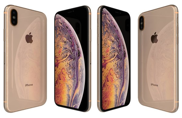 3D apple iphone xs gold