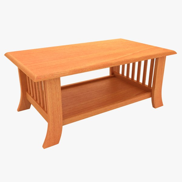 wooden teapoy table 03 3D model