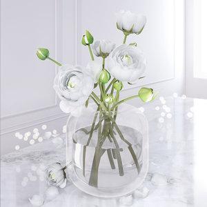 3D camellia vase