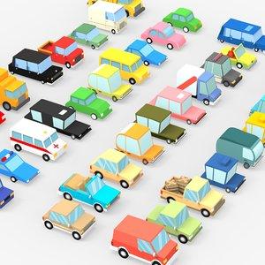 3D 39 cartoon cars