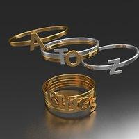 32 alphabet badge rings 3D model