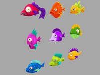 stylized fishes 3D model