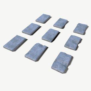 3D damaged stone plates model