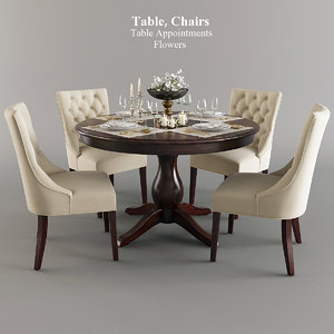 3D tableware table chairs