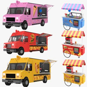 dog cart cream truck 3D