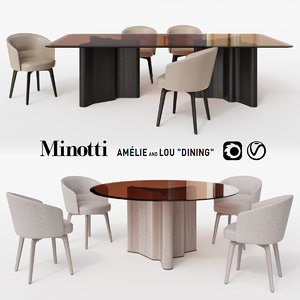 chair amelie dining table 3D model
