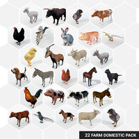 25 Farm Domestic Animals Pack - Animal Collection