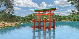 historic itsukushima shrine torii 3D model