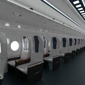 3D economy class aircraft model